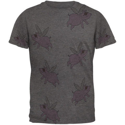 Flying Pigs All Over Dark Heather Soft Adult T-Shirt