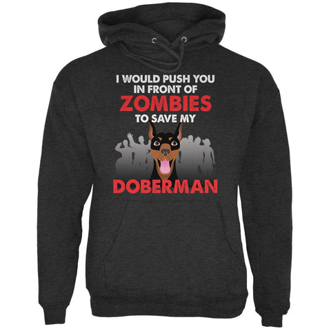 I Would Push You Zombies Doberman Dog Charcoal Heather Adult Hoodie