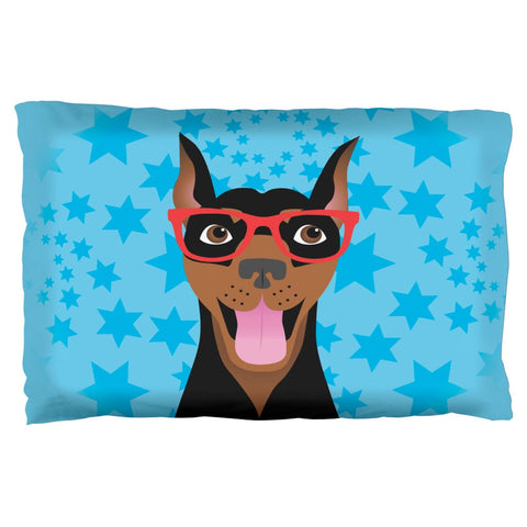 Doberman Dog Glasses Stars Pillow Case