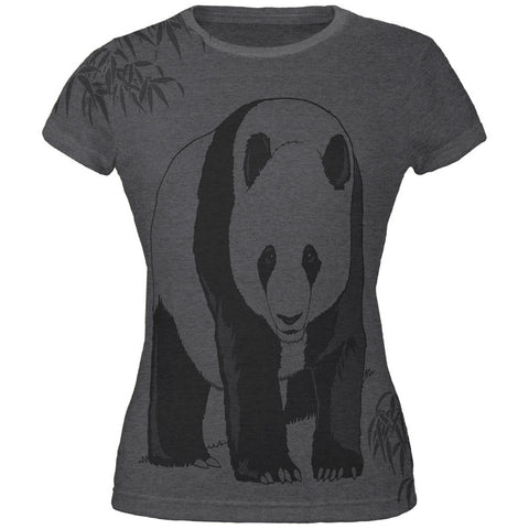 Panda Bamboo All Over Dark Heather Juniors Soft T-Shirt