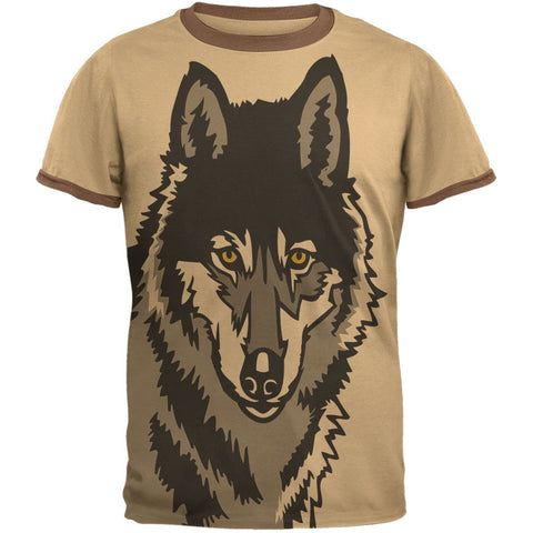 Wolf Face All Over Tan-Brown Men's Ringer T-Shirt