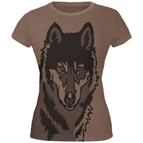 Wolf Face All Over Heather Brown Juniors Soft T-Shirt