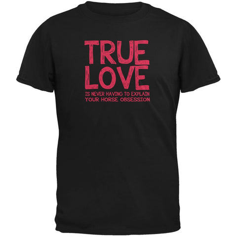 Valentines Day True Love Horse Black Adult T-Shirt