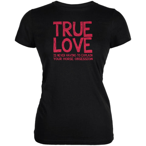 Valentines Day True Love Horse Black Juniors Soft T-Shirt