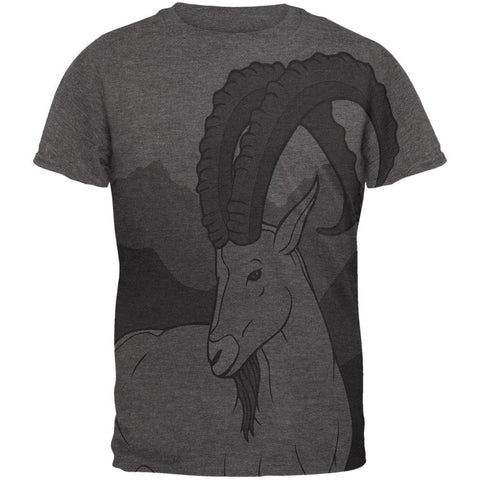 Ibex Goat Wild Mountains All Over Dark Heather Soft Adult T-Shirt