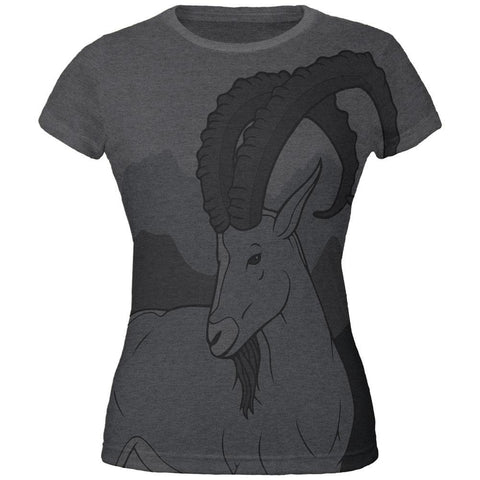 Ibex Goat Wild Mountains All Over Dark Heather Juniors Soft T-Shirt