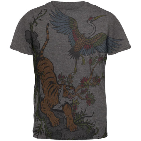 The Tiger and Crane All Over Dark Heather Soft Adult T-Shirt