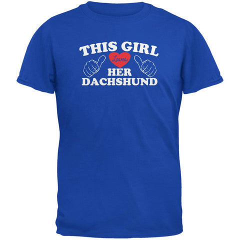 Valentines This Girl Loves Her Dachshund Royal Adult T-Shirt