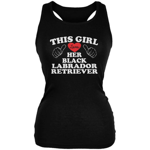 Valentines This Girl Loves Her Black Lab Black Juniors Soft Tank Top