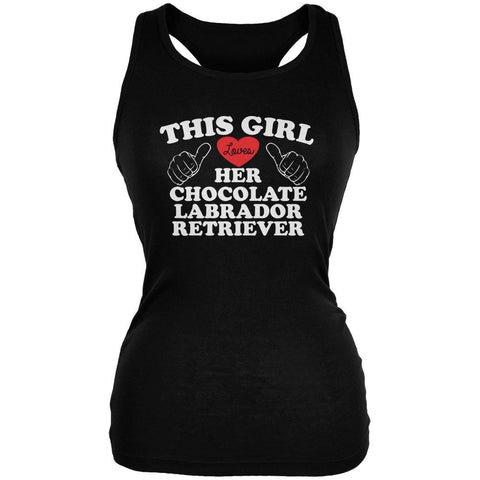 Valentines This Girl Loves Her Chocolate Lab Black Juniors Soft Tank Top