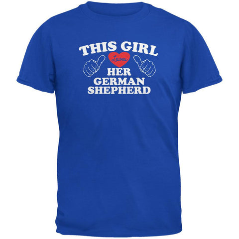 Valentines This Girl Loves Her German Shepherd Royal Adult T-Shirt