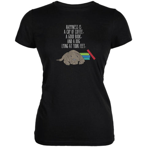 A Good Book and My Dog Black Juniors Soft T-Shirt