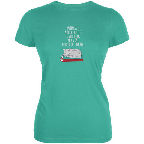 A Good Book and My Cat Teal Juniors Soft T-Shirt