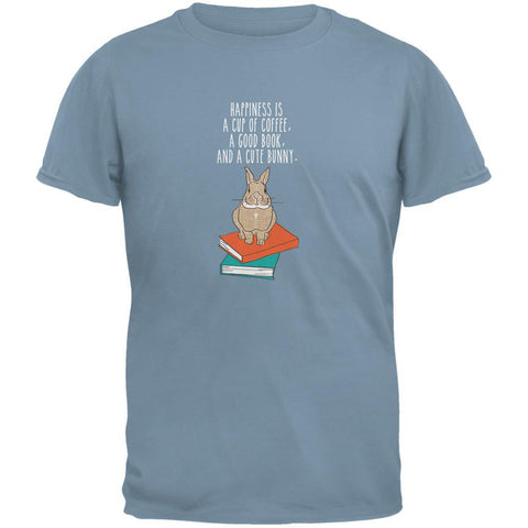A Good Book and My Bunny Stone Blue Adult T-Shirt