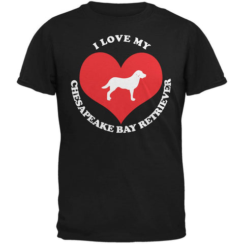 Valentines I Love My Chesapeake Bay Retriever Black Adult T-Shirt