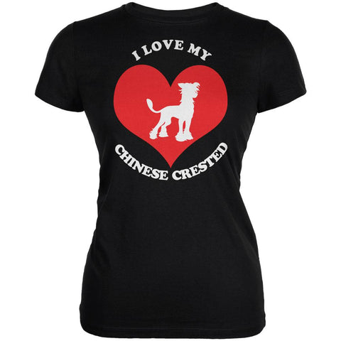 Valentines I Love My Chinese Crested Black Juniors Soft T-Shirt