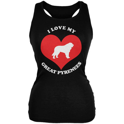Valentines I Love My Great Pyrenees Black Juniors Soft Tank Top