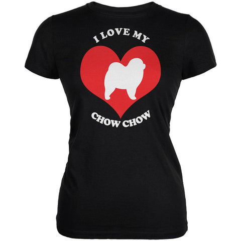 Valentines I Love My Chow Chow Black Juniors Soft T-Shirt