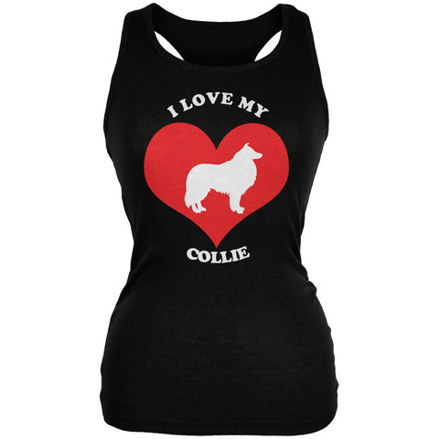Valentines I Love My Collie Black Juniors Soft Tank Top