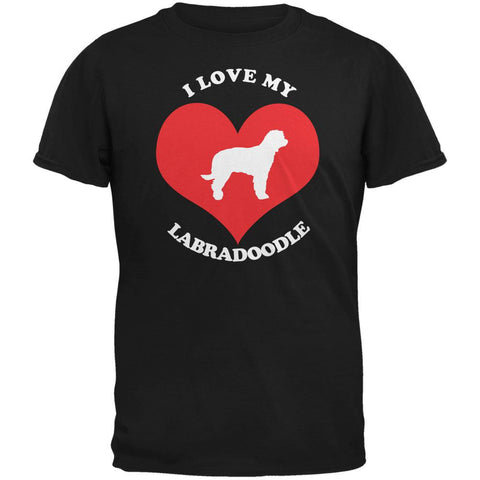 Valentines I Love My Labradoodle Black Adult T-Shirt