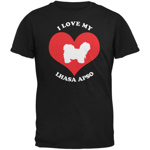 Valentines I Love My Lhasa Apso Black Adult T-Shirt