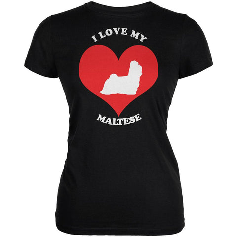 Valentines I Love My Maltese Black Juniors Soft T-Shirt