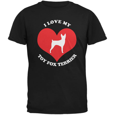 Valentines I Love My Toy Fox Terrier Black Adult T-Shirt