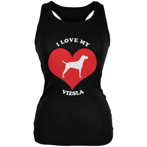 Valentines I Love My Vizsla Black Juniors Soft Tank Top