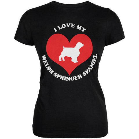 Valentines I Love My Welsh Springer Spaniel Black Juniors Soft T-Shirt