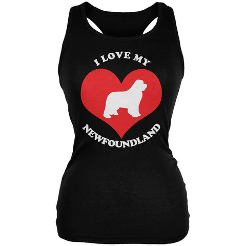 Valentines I Love My Newfoundland Black Juniors Soft Tank Top