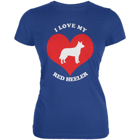 Valentines I Love My Red Heeler Royal Juniors Soft T-Shirt