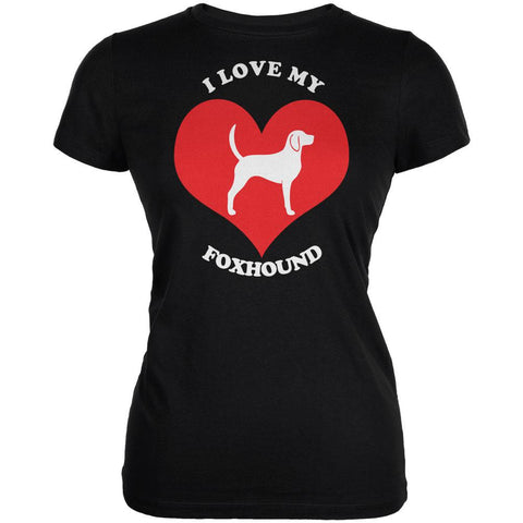 Valentines I Love My Foxhound Black Juniors Soft T-Shirt