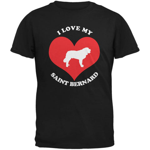 Valentines I Love My Saint Bernard Black Adult T-Shirt