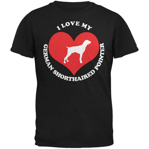 Valentines I Love My German Shorthaired Pointer Black Adult T-Shirt