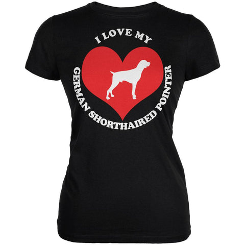Valentines I Love My German Shorthaired Pointer Black Juniors Soft T-Shirt