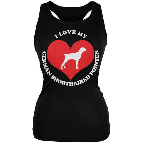 Valentines I Love My German Shorthaired Pointer Black Juniors Soft Tank Top