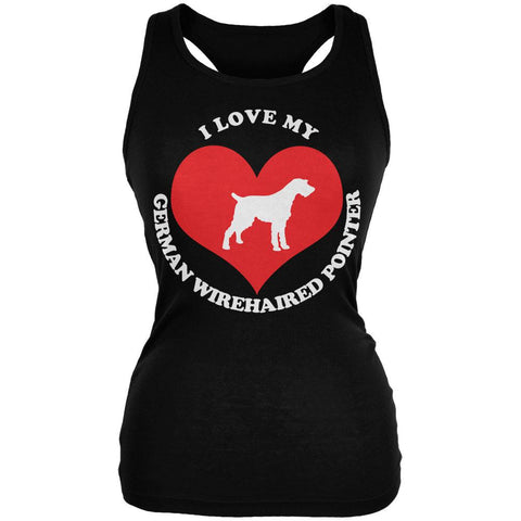 Valentines I Love My German Wirehaired Pointer Black Juniors Soft Tank Top
