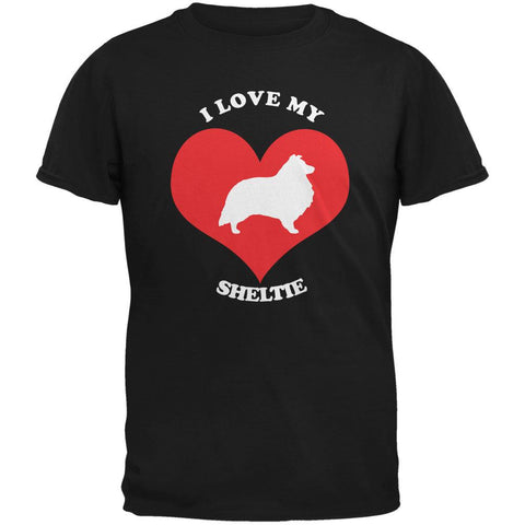 Valentines I Love My Sheltie Black Adult T-Shirt