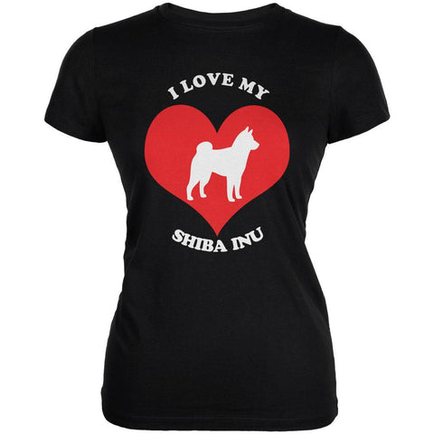 Valentines I Love My Shiba Inu Black Juniors Soft T-Shirt