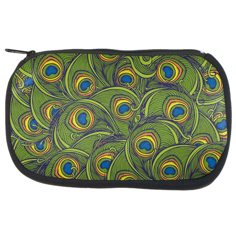 Graphic Peacock Feathers Makeup Bag