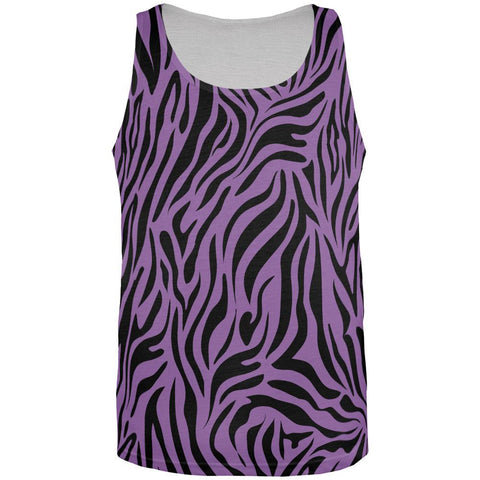 Zebra Print Sublimated Purple All Over Adult Tank Top