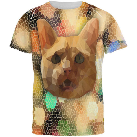 Geometric Poly Cat All Over Adult T-Shirt