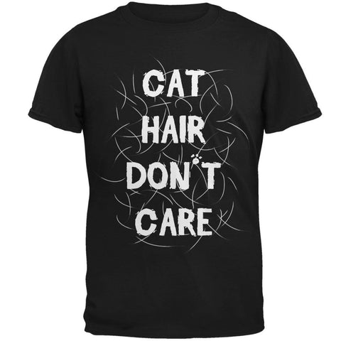 Cat Hair Don't Care Black Adult T-Shirt