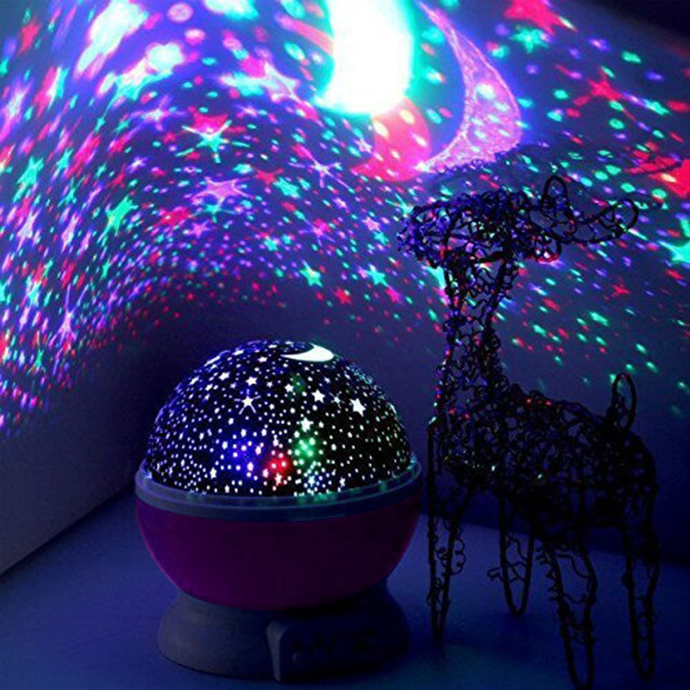 Night Lighting Lamp [ 4 LED Beads, 3 Model Light, 4. 9 FT (1. 5 M) USB Cord ] Romantic Rotating Cosmos Star Sky Moon Projector , Rotation Night Projection For Children Kids Bedroom