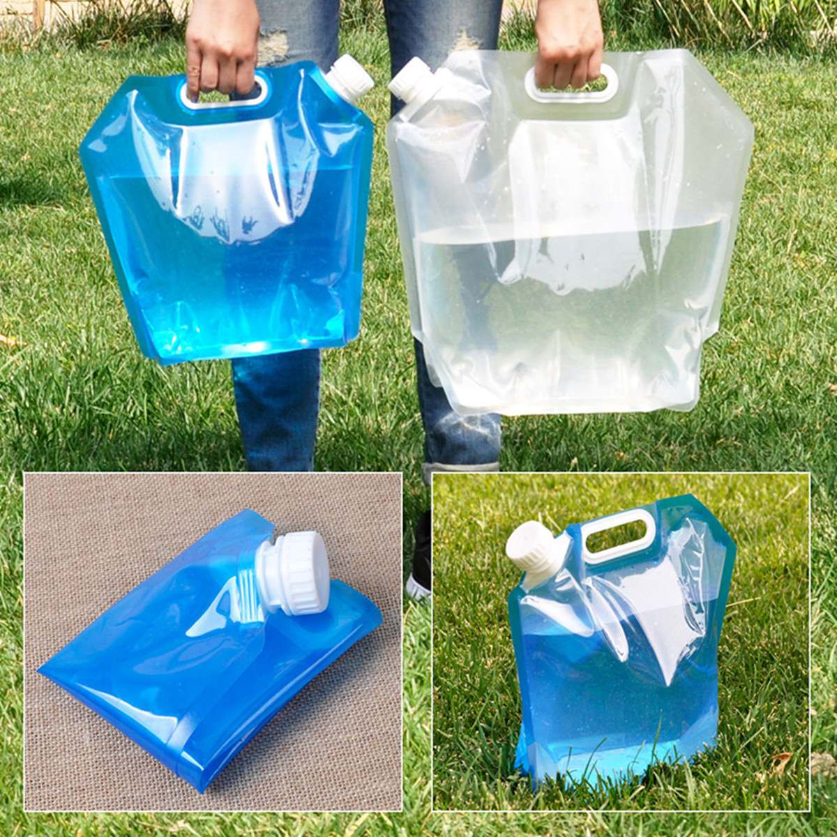 Outdoor Folding Plastic Water Bags 5L 10L Foldable Water Storage Bag Collapsible Camping Water Container for Drinking