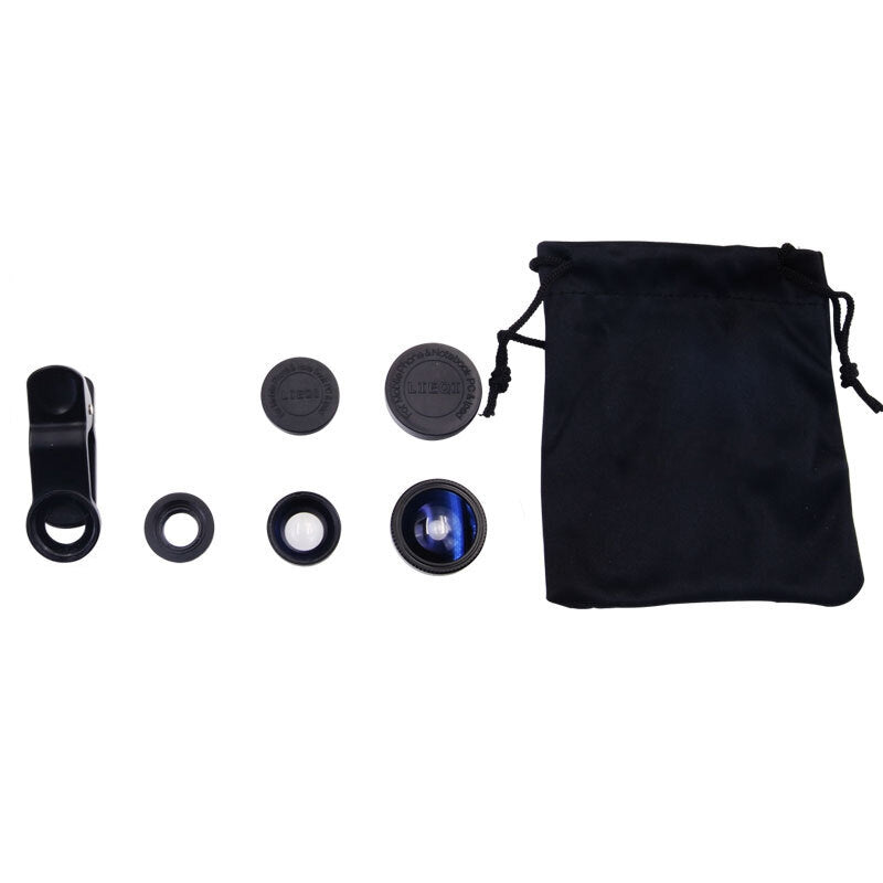 Universal 3 in 1 Wide Angle Macro Fisheye Mobile Phone Lenses Kit with Clip Fish Eye Lens