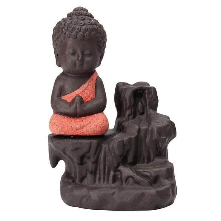 Meditating Monk Buddha Smoke Back flow Cone Incense Holder