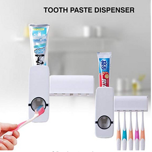 One-touch automaticly Toothpaste Dispenser + 5 Toothbrush Holder Set Wall Mount Stand