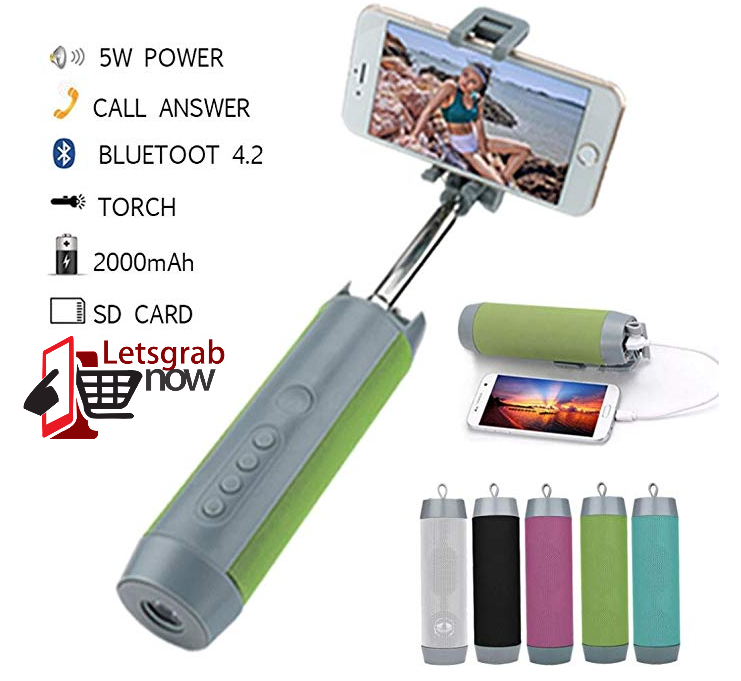 5 in 1 Bluetooth Speaker,Torch,PowerBank,Selfie stick, Mobile Holder