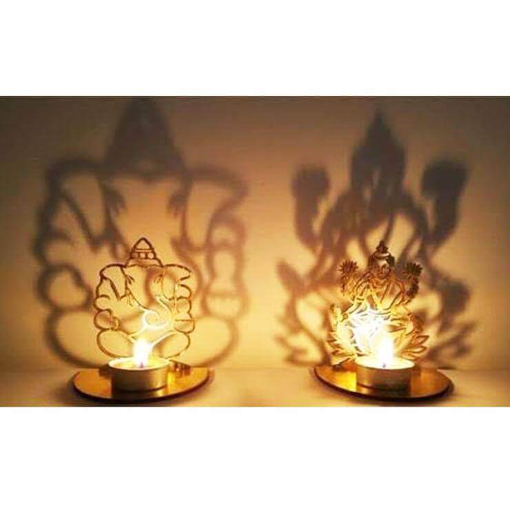 Ganesh & Lakshmi Shadow  Shiny Candles